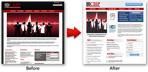 Website comparison: before and after